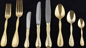 Image of a Flatware: Infinity Gold Plated Dessert/Soup Spoons