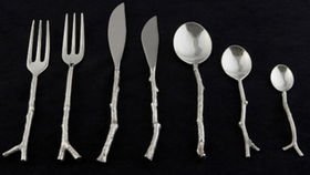 Image of a Flatware: Twig Silver Dessert/Soup Spoons