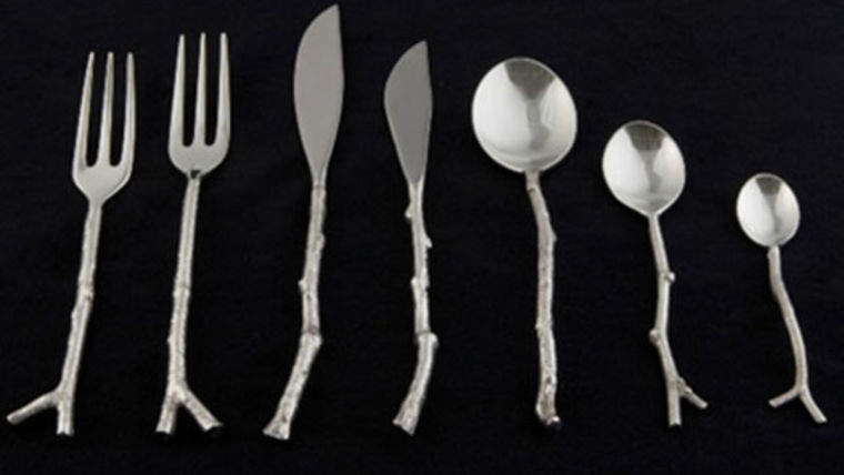 Picture of a Flatware: Twig Silver Dessert/Soup Spoons
