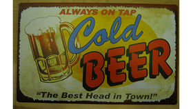 Image of a Bar Sign, Cold Beer