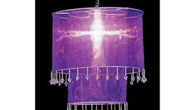 Image of a Fabric and Crystal 2 Tier Chandelier, Violet