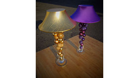 Image of a Trumpet Vase: Purple Shade & Purple Ornaments