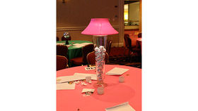 Image of a Trumpet Vase: Pink Shade with Disco Balls