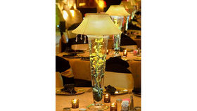 Image of a Trumpet Vase: Gold Microdot Shade and Yellow Orchids