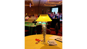 Image of a Trumpet Vase: Pale Yellow Shade with Disco Balls