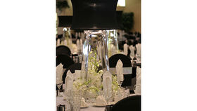 Image of a Centerpiece: Light-Up Lamp, Black Shade