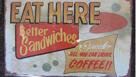 "Image of a Sign: Novelty, ""Eat Here"", Metal"