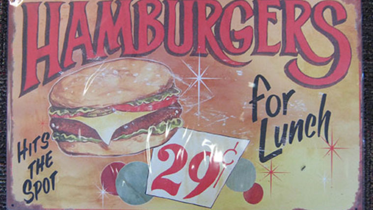 Image of a Diner Sign, Hamburgers for Lunch