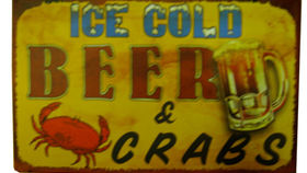 Image of a Bar Sign, Beer & Crabs