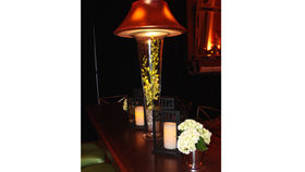 Image of a Centerpieces: Trumpet Vase with Copper Shade and Florals