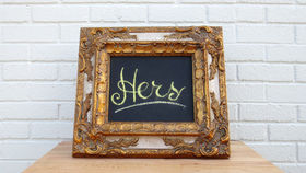 Image of a Chalk Board with Ornate Gold Frame