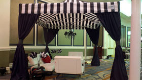 Image of a Black & White Cabana with Swags