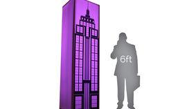 Image of a Lit Column: B/W City Theme