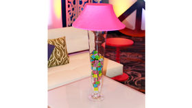 Image of a Trumpet Vase: Pink Shade with Puzzle Cubes
