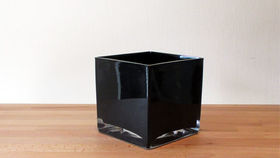 "Image of a 4"" Black Glass Cube Vase"