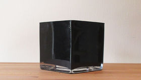 "Image of a 5"" Black Glass Cube Vase"