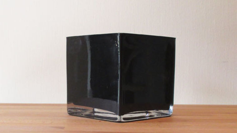 """Picture of a 5"""" Black Glass Cube Vase"""