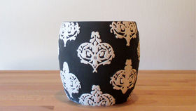 Image of a B/W Damask Vase