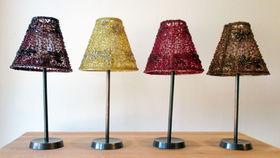 Image of a Beaded Votive Lamps with Brass Stand
