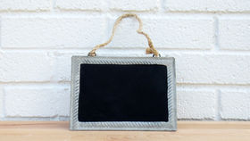 Image of a Small Blackboard with Zinc Frame and Jute Hangar