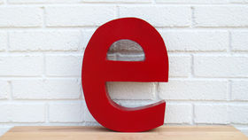 Image of a Red Metal Letter, e