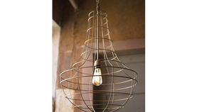 Image of a Gold Cage Pendant Lamp