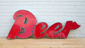 Image of a Vintage Beer Drum Sign