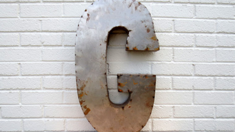 Picture of a Reclaimed Tin Letter, G