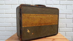 Image of a Vintage Luggage, Blue Striped