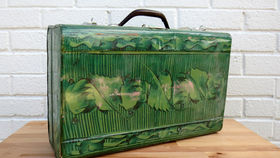 Image of a Vintage Luggage, Green Polynesian Tin