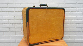 Image of a Vintage Luggage, Tan with Green Edges