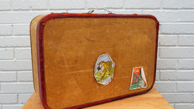 Image of a Vintage Luggage, Wicker with Stickers