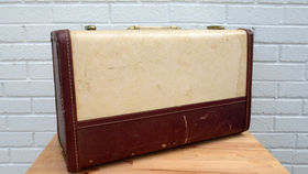 Image of a Vintage Luggage, Cream with Burgundy