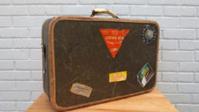 Image of a Vintage Luggage, Carry-On with Stickers