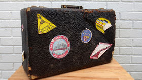 Image of a Vintage Luggage, Leather with Stickers