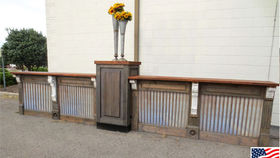 Image of a Bars: Restoration Bar with Corrugated Panels, 1 Pedestal w/ 2 Fronts, Straight