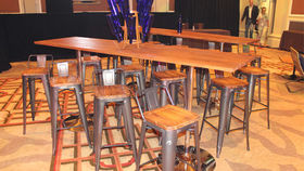 Image of a Butcher Block Communal Table with Chestnut Stain