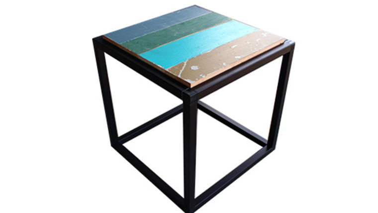 Picture of a Besto Frame End Table with Reclaimed Wood Top