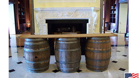 Image of a Barrel Bar w/ Wooden Plank