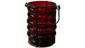 Image of a Lanterns: Red Ribbed Lantern Candle Holders