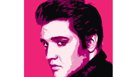 Image of a Sign: Elvis 4x4 Rock Lithograph Pink