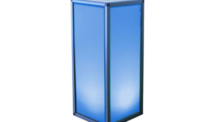 "Picture of a Lit Pedestal with 24"" Acrylic Swirl Top"