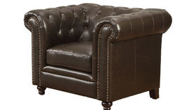 Image of a Stanford Button Tufted Chair, Brown