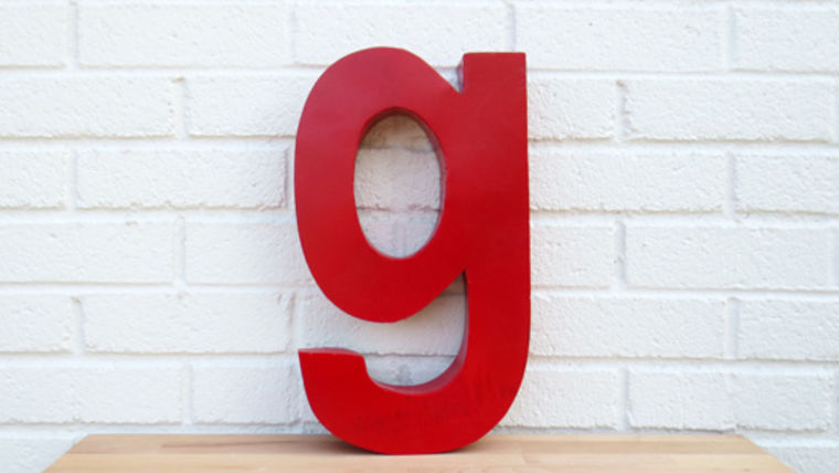 Picture of a Red Metal Letter, g