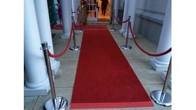 Image of a Silver Polish Chrome Base with Red Rope 8ft Stanchion