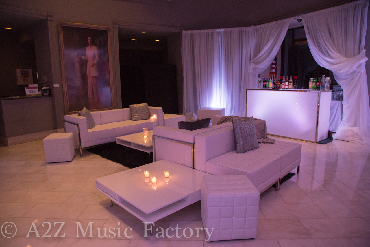 Contemporary White Leather Sofa rentals online - $275/day