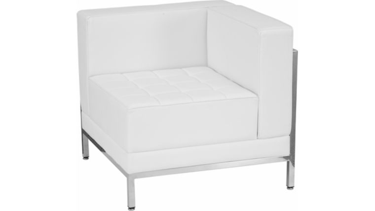 Picture of a Contemporary White Leather Right Corner Chair