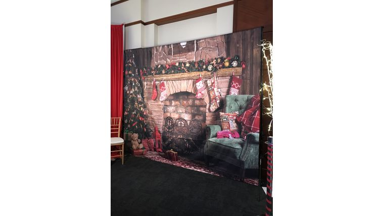 Picture of a Christmas Fireplace Backdrop
