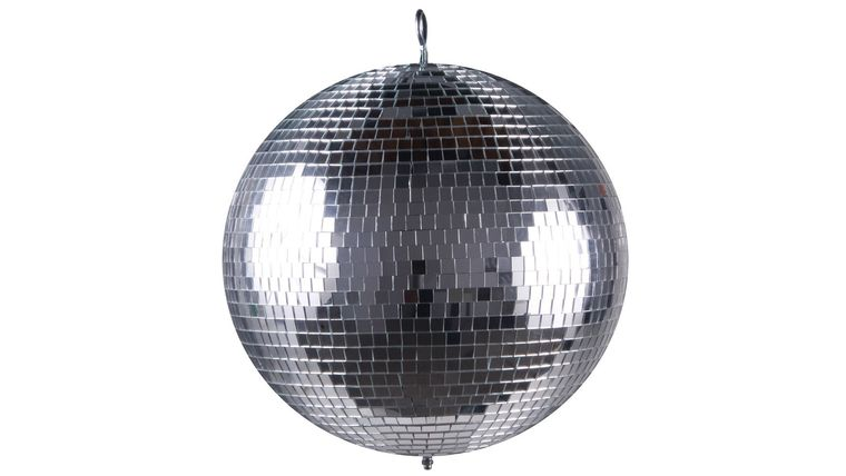 "Picture of a 12"" Mirror Ball, 2-Pin Spots and Mirror Ball Motor"