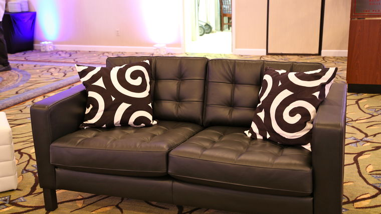 Picture of a Black Leather Sofa (Love Seat)